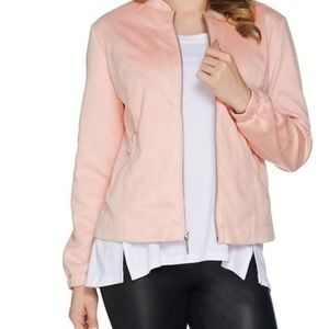 H by Halston Zip Front Faux Suede Bomber Jacket
